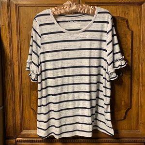 Striped Ruffle Short Sleeve Top
